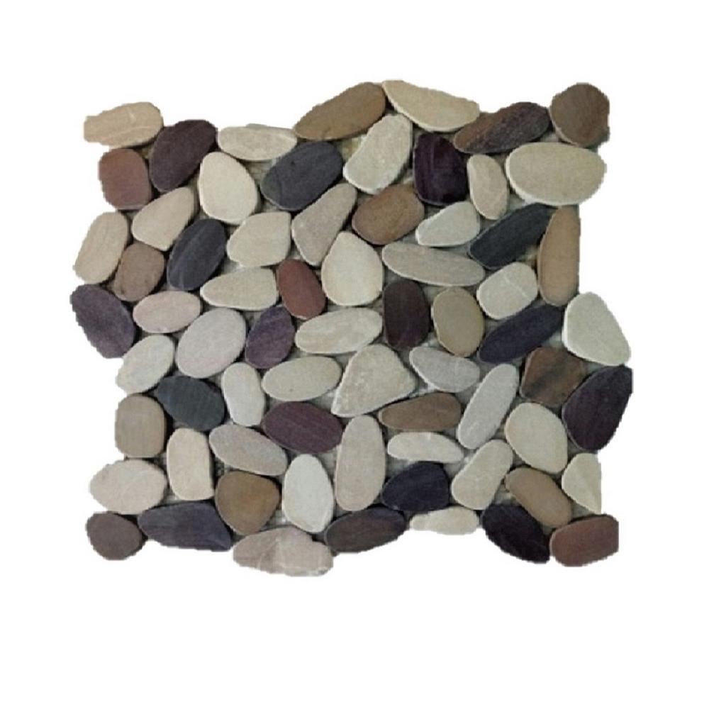 Rain Forest 12 In X 12 In Tan Brown And Cherry Honed Sliced Pebble Floor And Wall Tile 5 0 Sq Ft Case Pts Hnbnc Pebble Tile Stone Mosaic Tile Pebble Floor