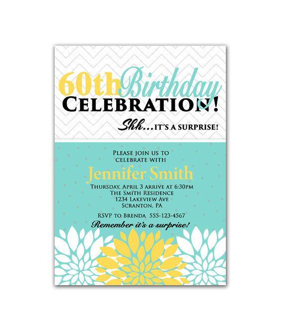 Tiffany Blue and Yellow Flower Burst Blossoms Surprise 60th – Tiffany Blue Birthday Invitations
