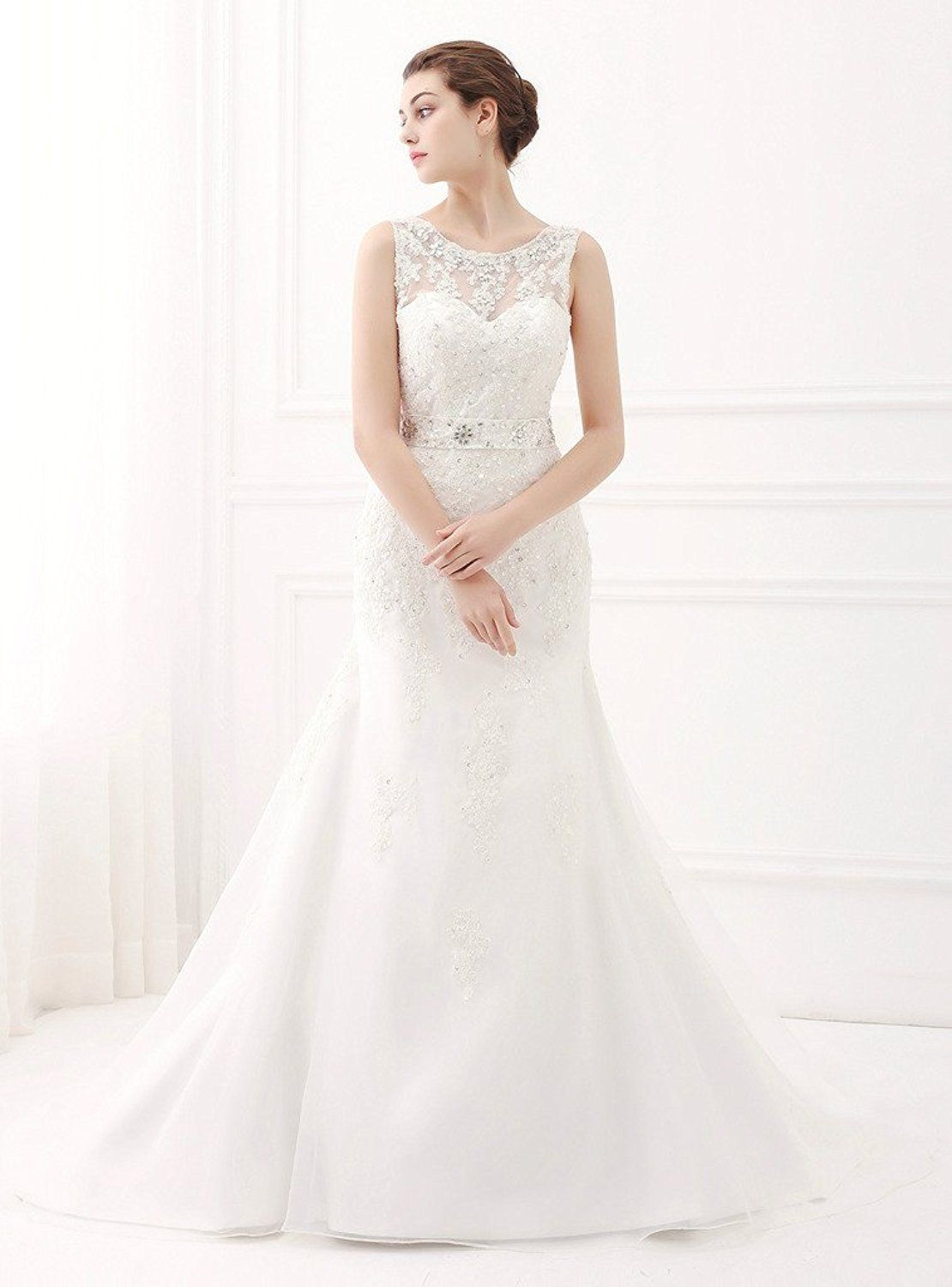 d9533fe64dff ScelleBridal Latest Sleeveless Lace Appliques Mermaid Bridal Dress Wedding  Gown at Amazon Women's Clothing store: