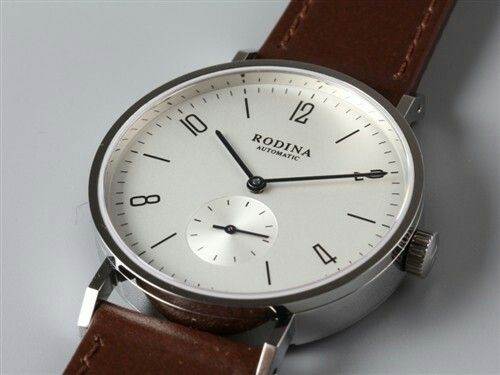 Classic Rodina Automatic Wrist Watch OEM by Sea-Gull ST1701 Movement Arabic White Dial Bauhaus Watch