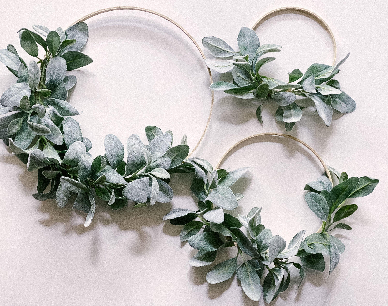 Photo of Lambs Ear Hoop Wreath Set | Greenery Wreath | Farmhouse Hoop Wreath | Nursery Crib Wreath | Hanging Greenery | Wedding Wall Hanging