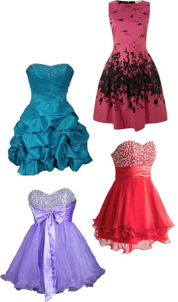 4 different prom dresses\