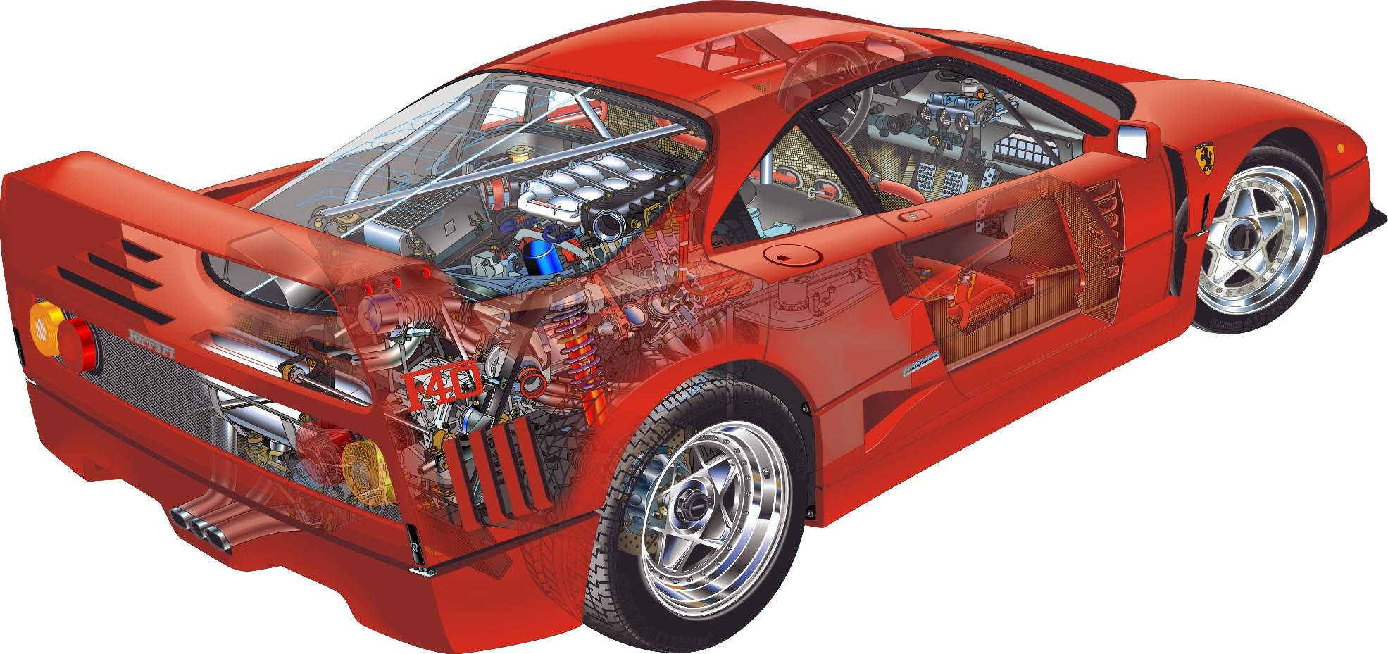 Portfolio technical illustrations ferrari f40 cutaway illustration portfolio technical illustrations ferrari f40 cutaway illustration vanachro Image collections