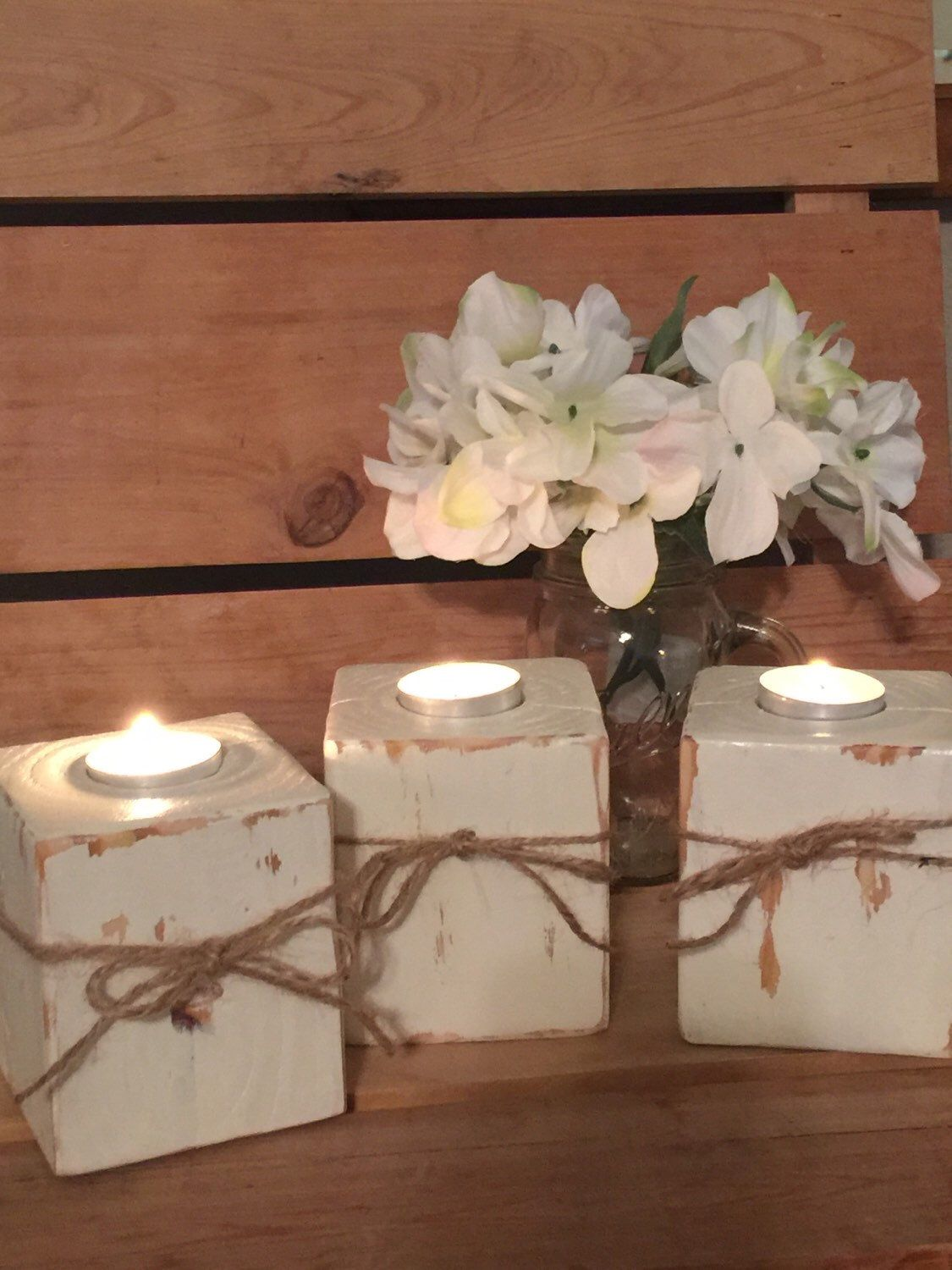 Wooden Candle Holder Set Country Home Decor New Home Gifts Rustic Candle Holder Centerpiece Farmhouse Decor Wooden Candler Holders