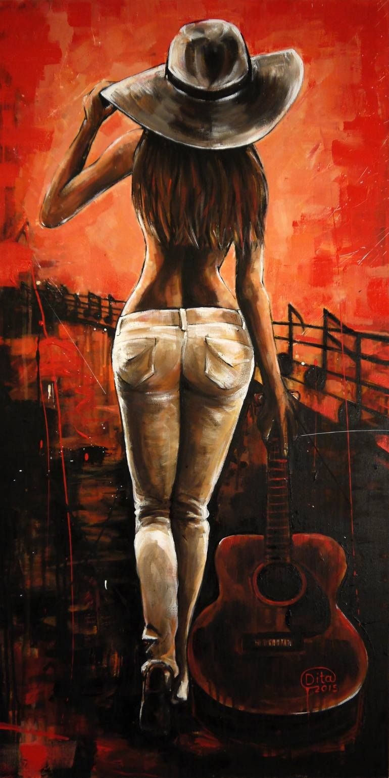 Buy Guitar Girl, an Acrylic Painting on Canvas, by Dita Omuri from United Kingdo...