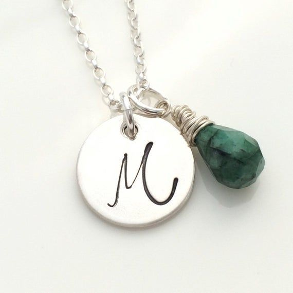Emerald necklace, initial pendant, May birthstone necklace, 20th anniversary gift, 35th anniversary #20thanniversarywedding Emerald necklace, initial pendant, May birthstone necklace, 20th anniversary gift, 35th anniversary #20thanniversarywedding