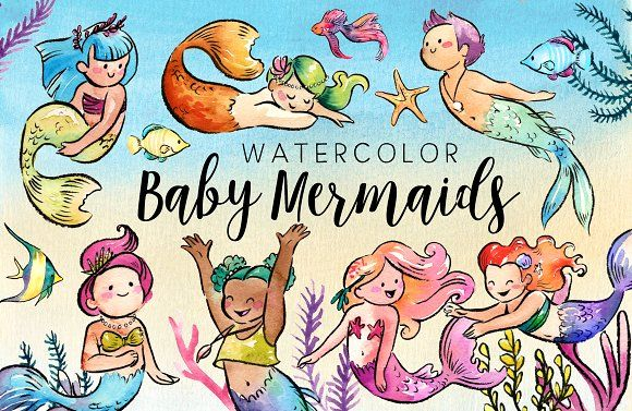Watercolor Baby Mermaids Clipart. Art watercolor illustrations for businesses like blogging, graphic design, wedding invitations. More #watercolor #illustrations you can download here ➝ https://creativemarket.com/graphics/illustrations?u=BarcelonaDesignShop #watercolor #palm #tropical #leaf #blue #illustration #exotic #flora #botanical #gold #art #painting #summer #nature #design #mermaid #download #graphic