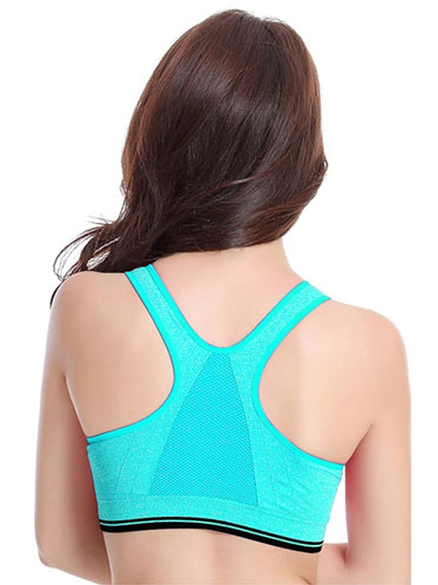e39375e00c SAYFUT Women s Seamless Sport Bra Active Gym Yoga Workout Sports Bras  Wireless Zip Front Mesh Racerback