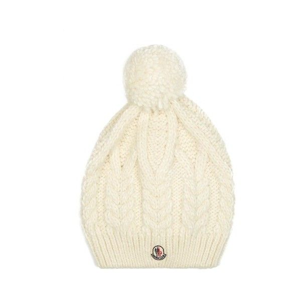 Moncler Pompom cable-knit hat ( 245) ❤ liked on Polyvore featuring  accessories 949296e27df