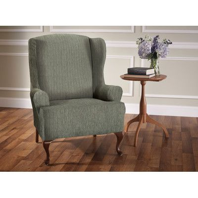 Innovative Textile Solutions Heather Stripe Stretch Wing Chair Slipcover & Reviews   Wayfair