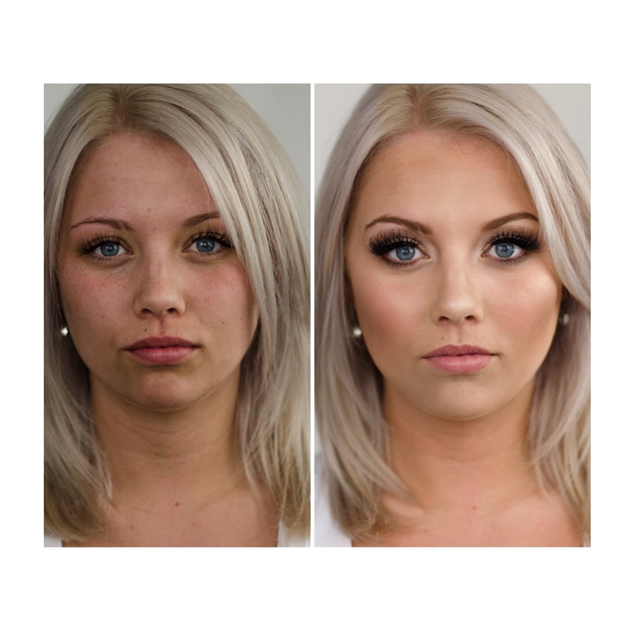 Before and after makeup Glam bridal makeup Lashes, blonde