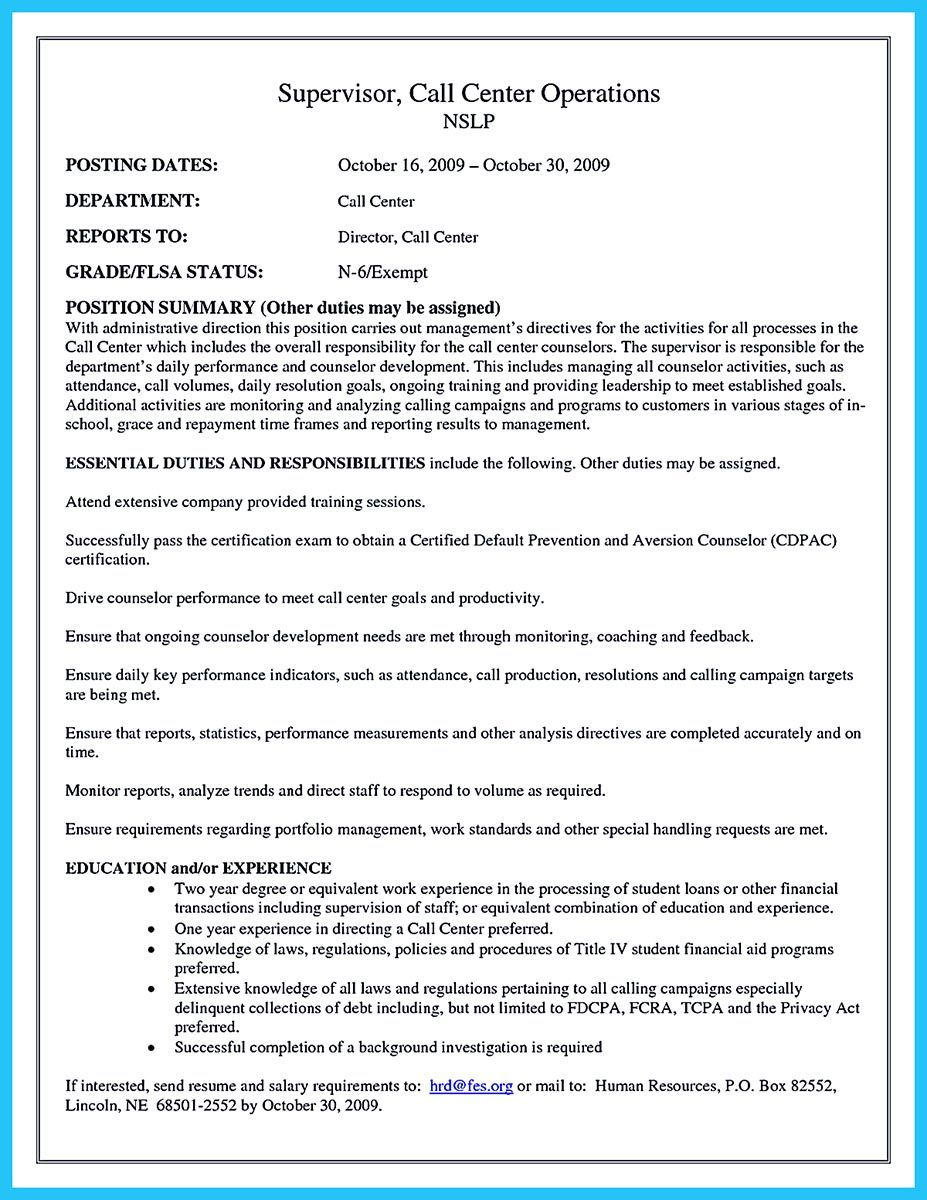 when making call center supervisor resume you should first fill your resume with the personal