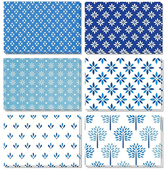 Amazon Com 48 Pack All Occasion Assorted Blank Note Cards Greeting Card Bulk Box Set Shades Of Blue Floral Fo Blank Note Cards Greeting Card Box Note Cards