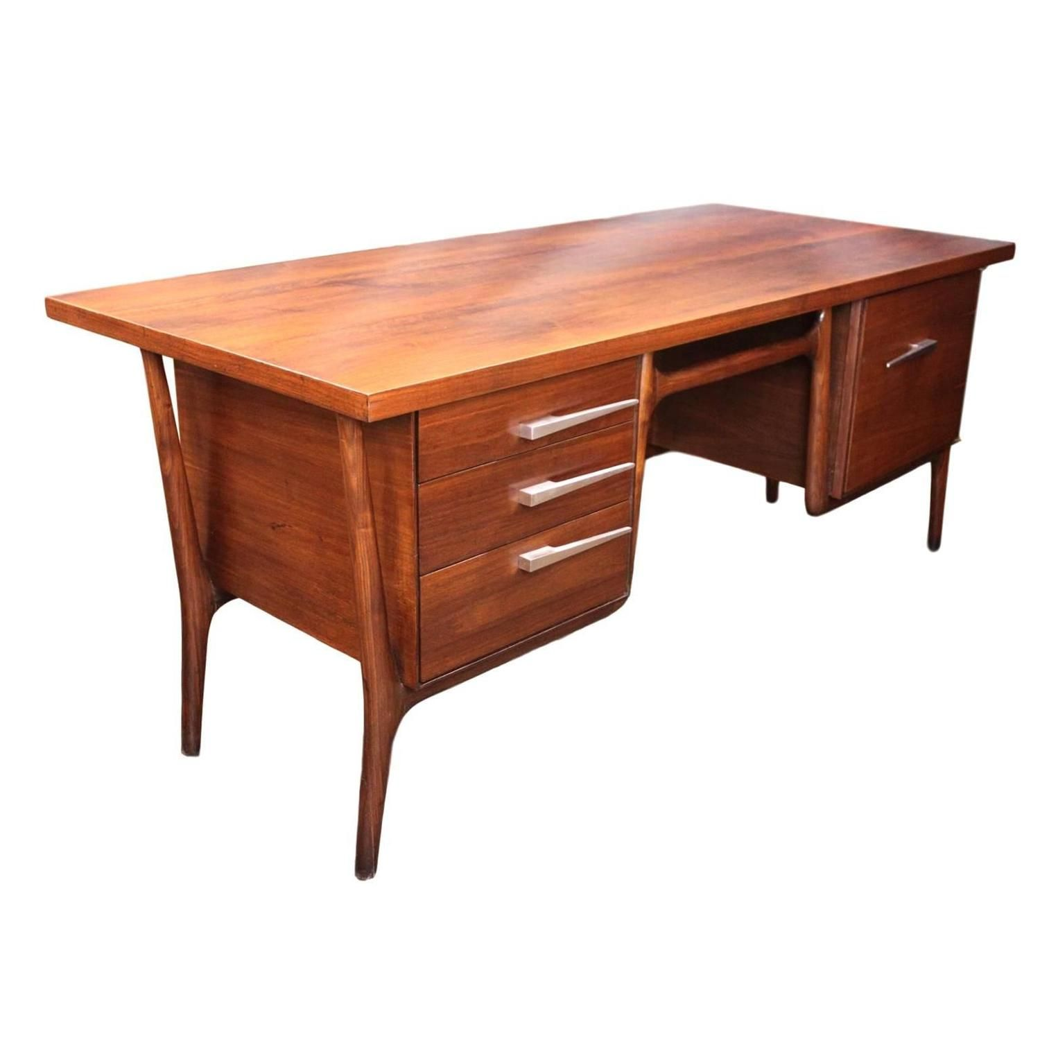 Iconic 1950s Mid Century Modern Walnut Executive Desk By Leopold