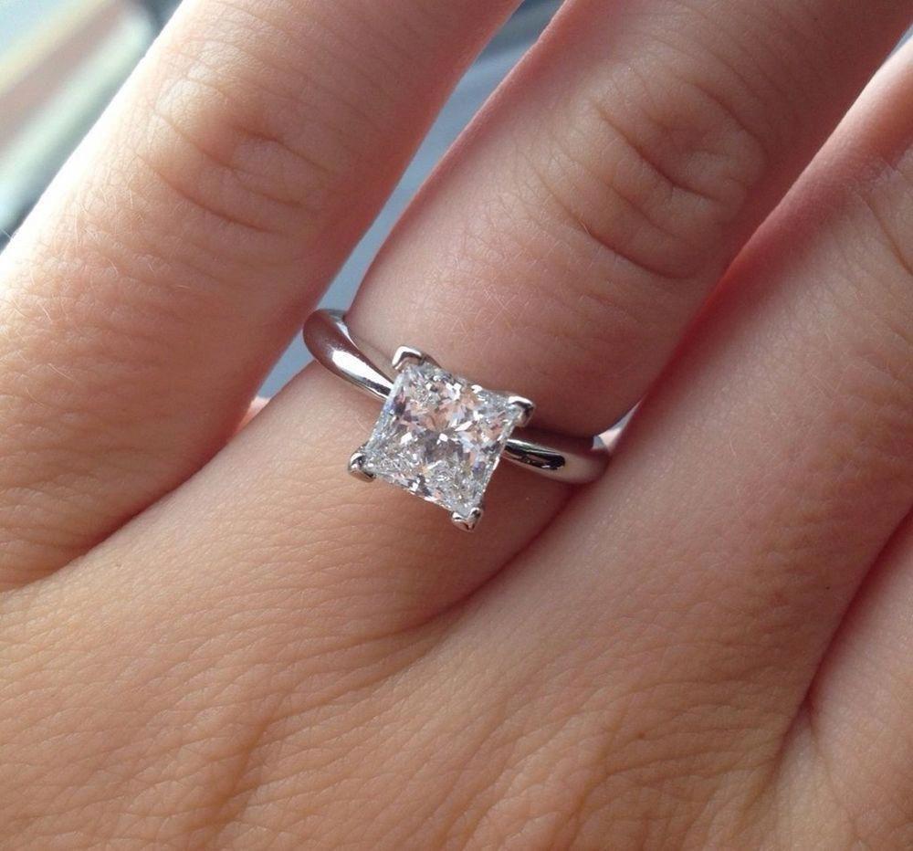 Ct princess cut diamond super solitaire engagement ring