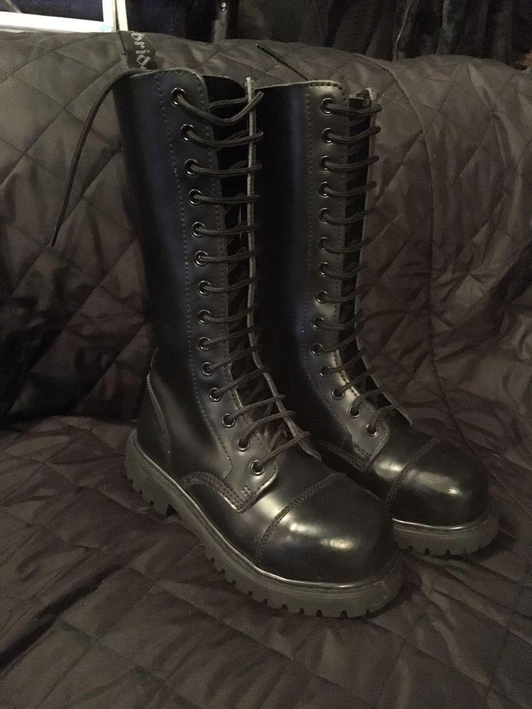 9e4365a9c Black Ranger Steel Toe Cap Boots 14 Hole Knightsbridge Size 3 skinhead USED    eBay
