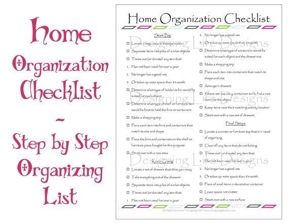Household Organization Home Organization Checklist Pdf