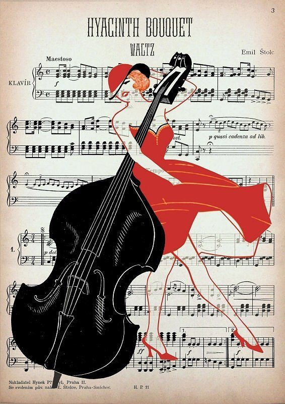 DOUBLE bass GIRL mixed media print wall decor wall hanging music art by artretro on Etsy https://www.etsy.com/listing/88688926/double-bass-girl-mixed-media-print-wall