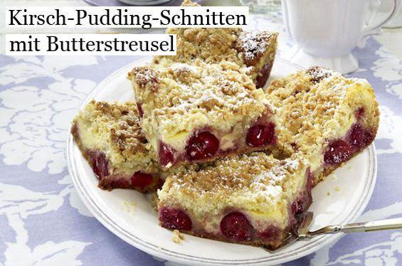 Kirsch-Pudding-Schnitten mit Butterstreuseln