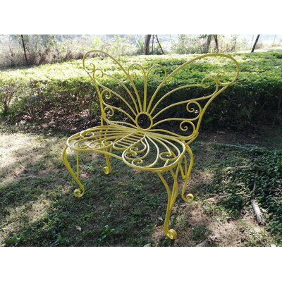 Hi Line Gift Ltd White Metal Garden Butterfly Chair Color Yellow