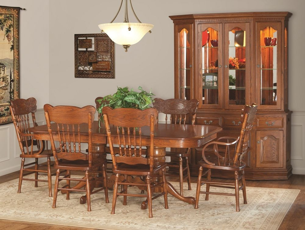 Amish Country Pedestal Dining Set Table Chair Cottage Wood ...