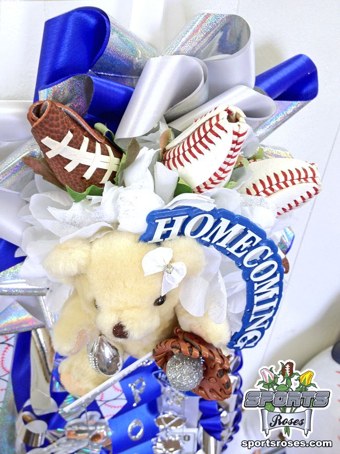 Football Rose and Baseball Roses create a striking display inside a homecoming mum.  Their everlasting petals are handmade from the cover of real baseballs and footballs.  Order Sports Roses here:  http://sportro.se/mums-garters
