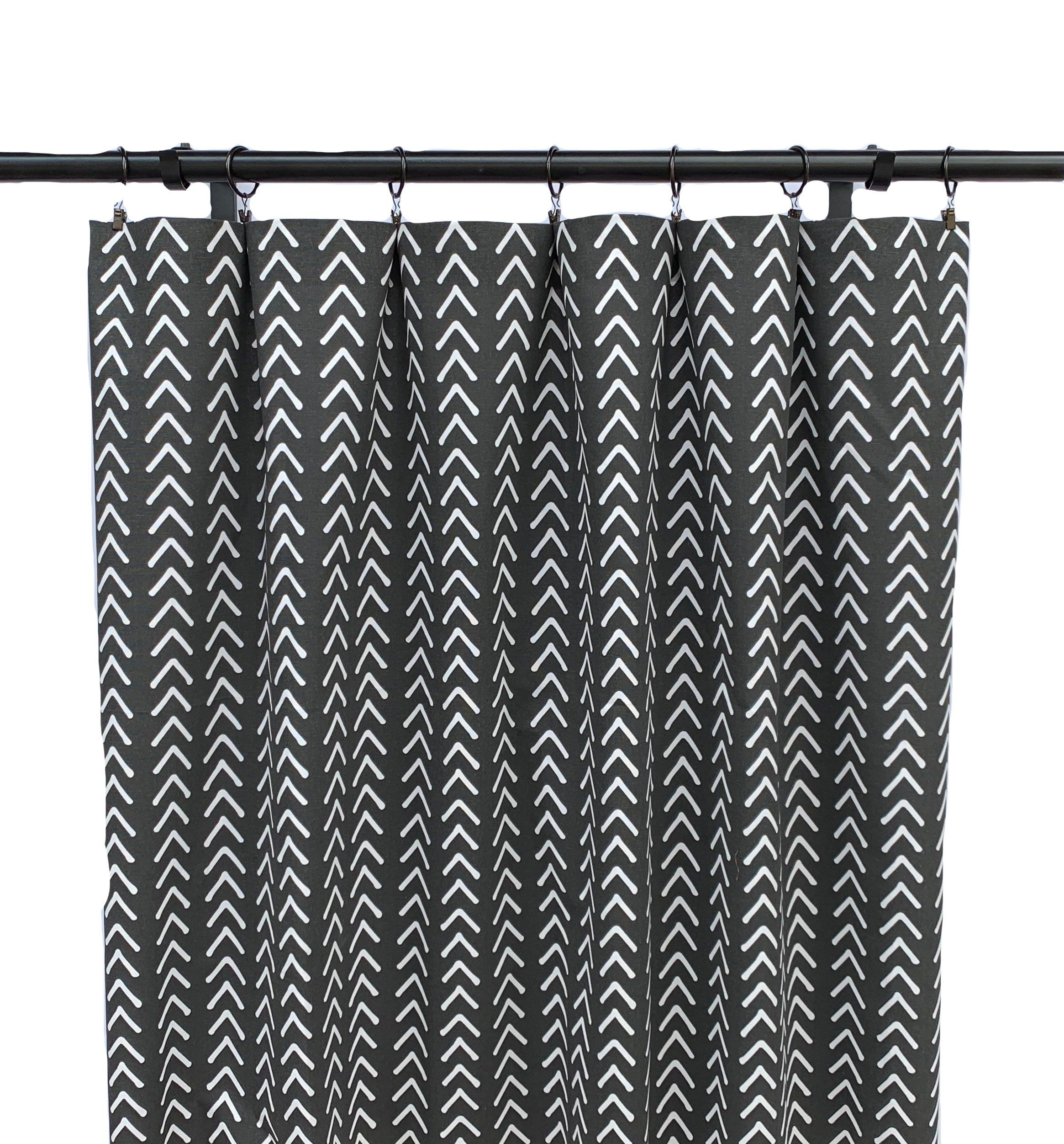 Black And White Boho Curtains Black Striped Curtain 2 Etsy