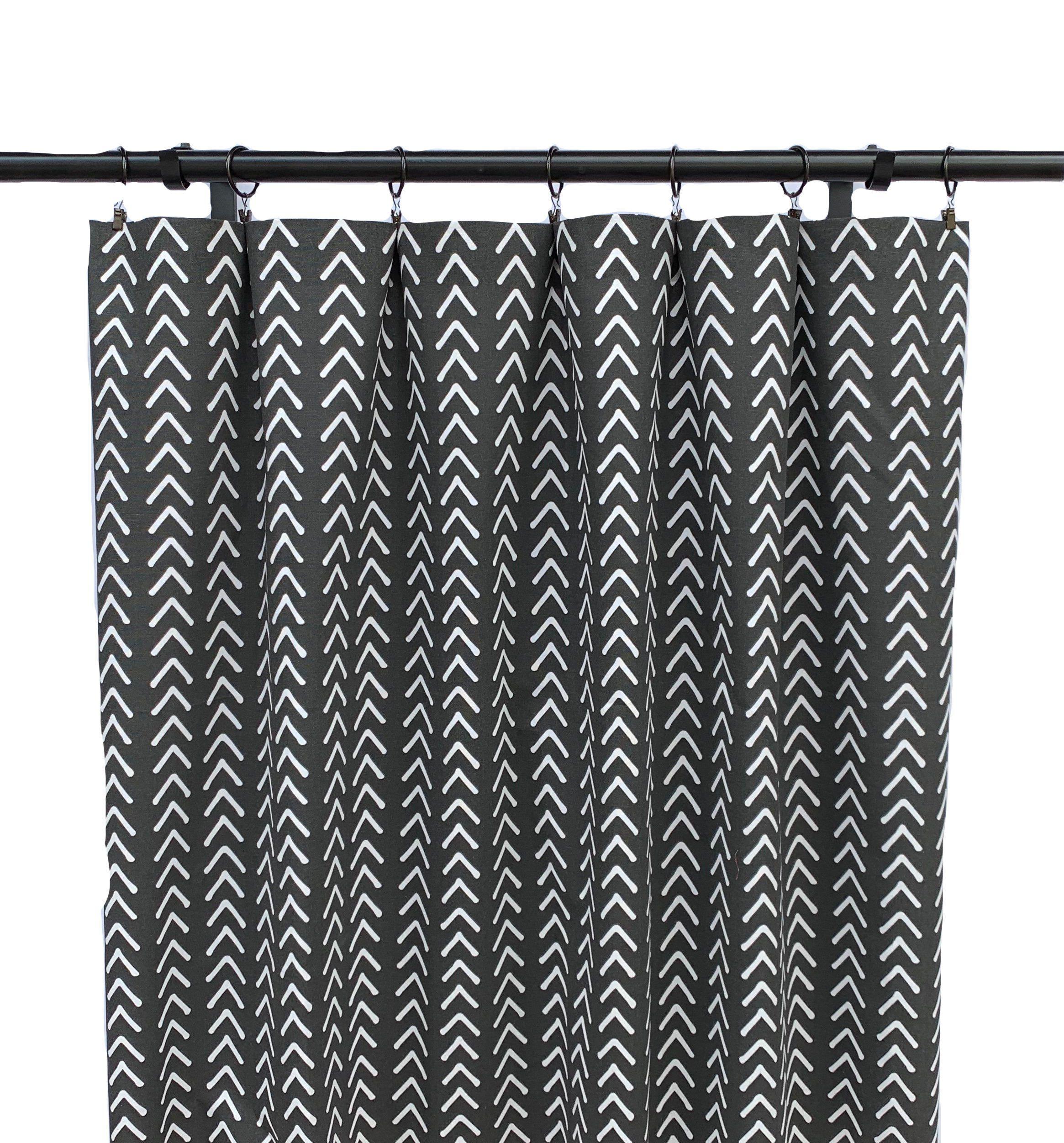 Black And White Boho Curtains Black Striped Curtain 2 Etsy Geometric Curtains Boho Curtains Striped Curtains