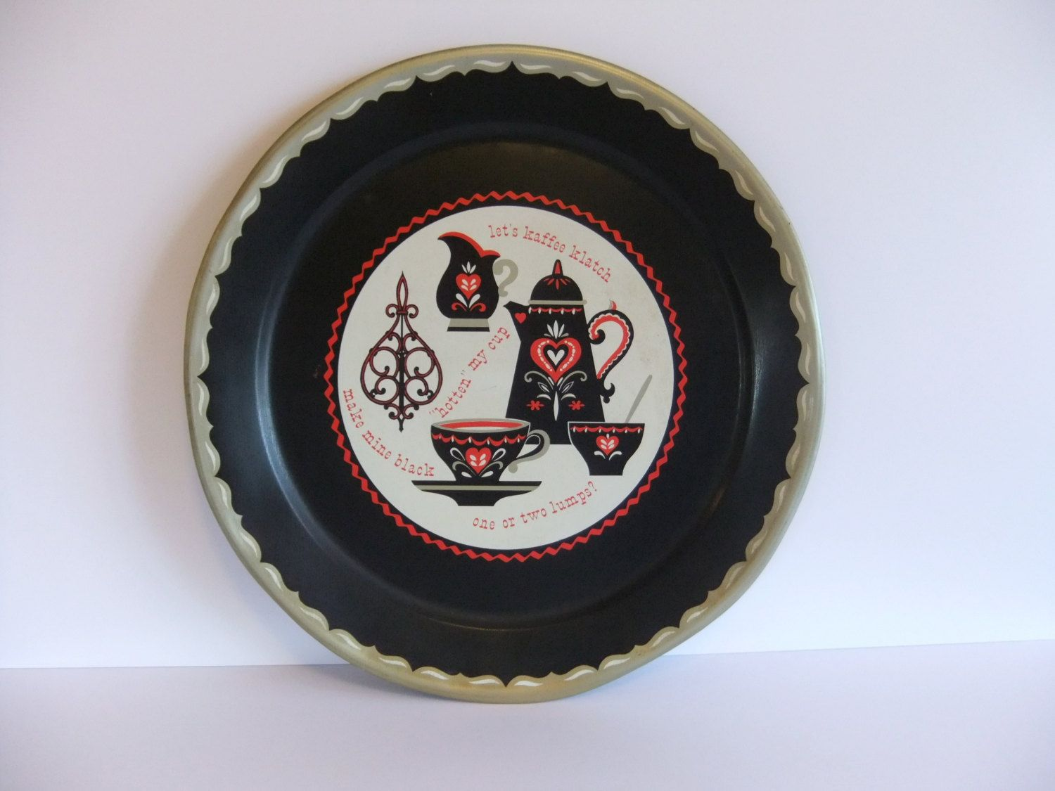 Serving tray vintage metal round tray large round tray amish folk