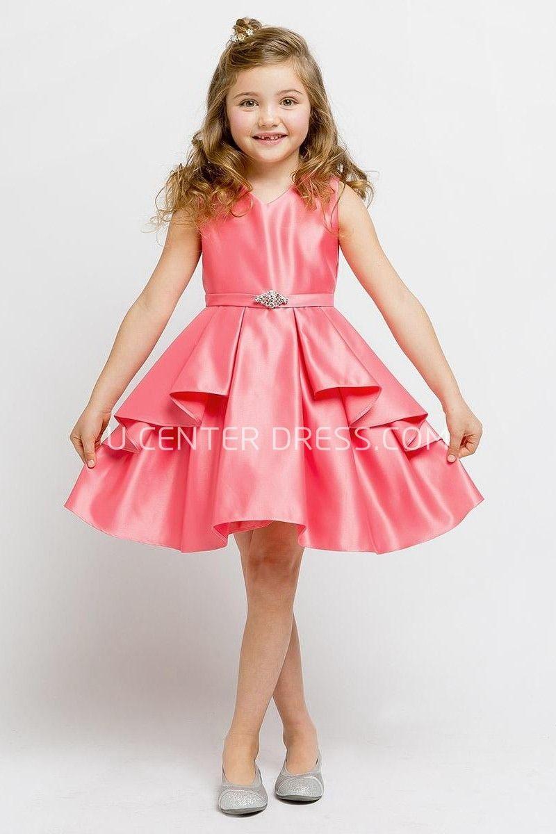 f84dba83296  60.83-Cute Split Knee-Length Beaded Split-Front Satin Red Junior  Bridesmaid Dress