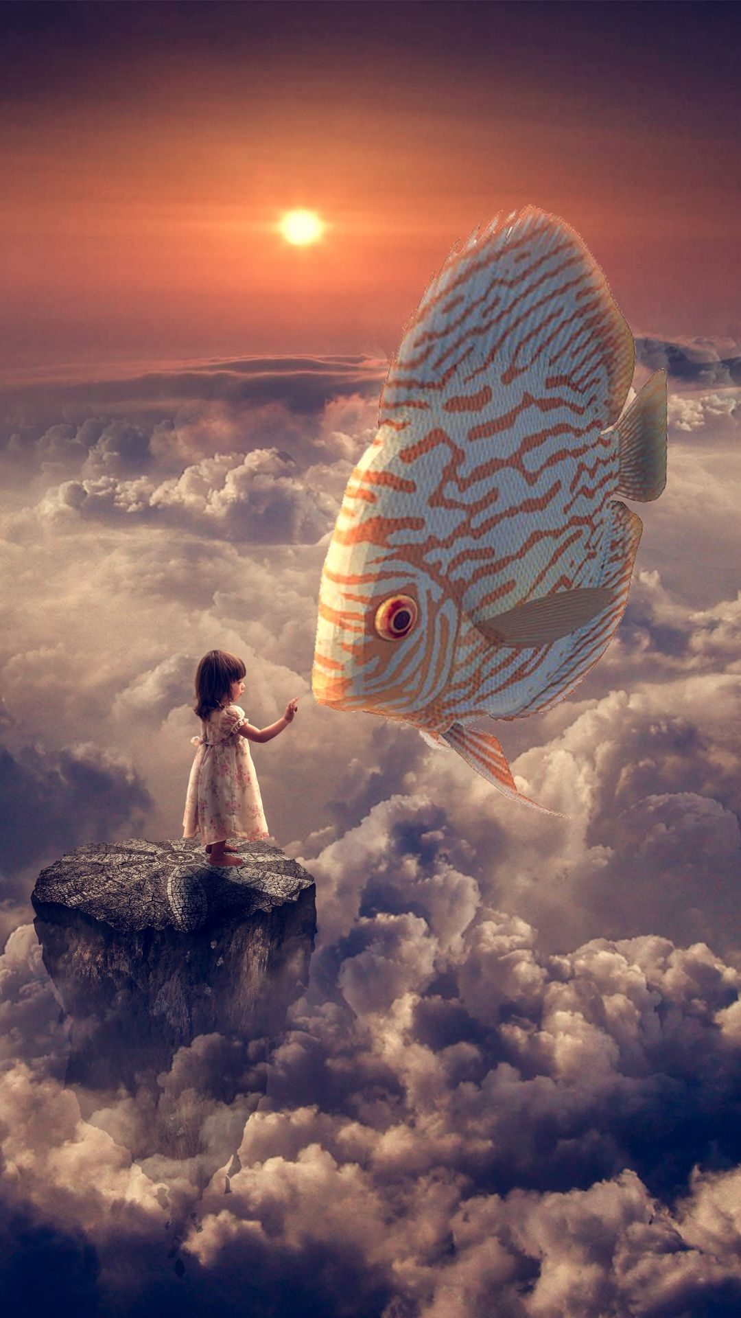 Fantasy Girl Fish Clouds Sky iPhone 8 Wallpapers Surreal