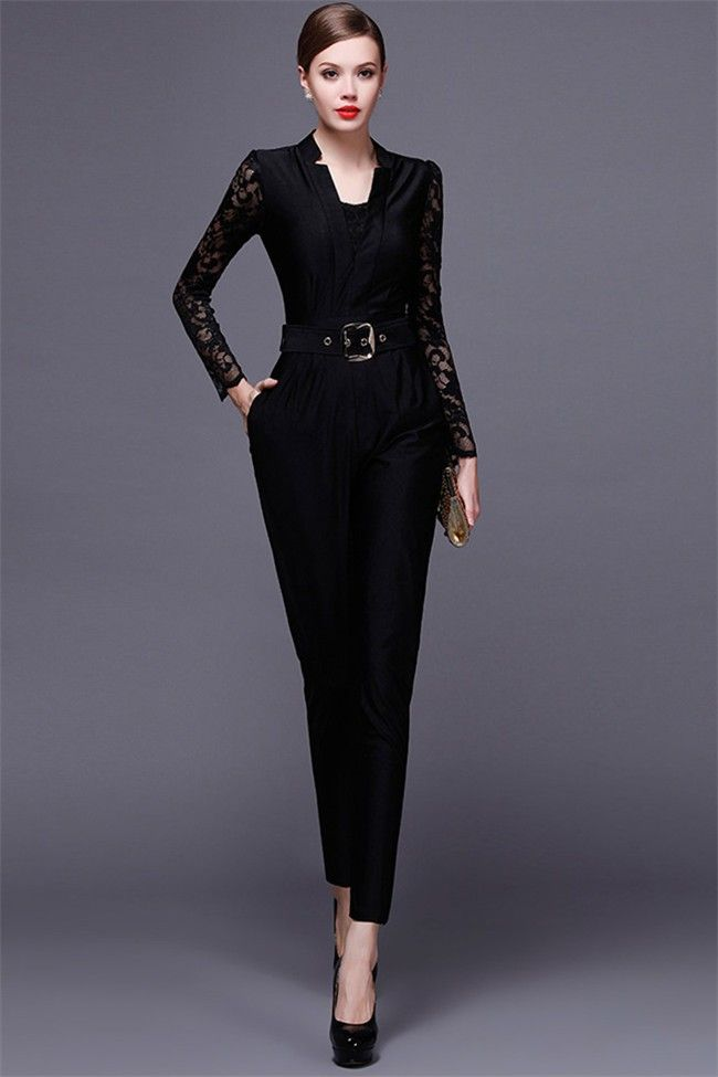 e924b26b9e0 Black Jersey Lace Long Sleeve Formal Occasion Evening Jumpsuit in ...