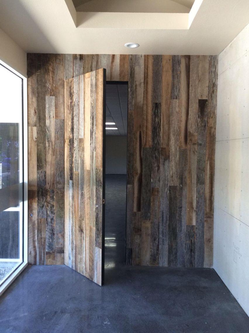 Accent Wall Made Of Reclaimed Wood With Secret Door Hidden Doors