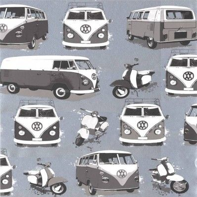 Black White Silver Grey J05909 Vw Volkswagen Camper Vans Scooters Muriva Wallpaper Detskie Oboi Oboi Detskie