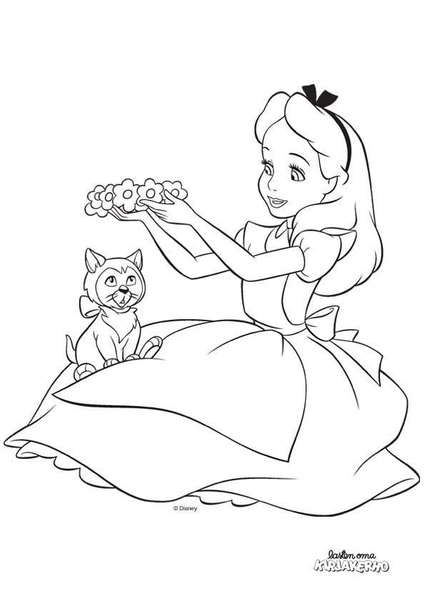 Liisa Ihmemaassa värityskuva. Alice in Wonderland colouring. Lasten Oman Kirjakerhon tulostettavat värityskuvat. Free printable pattern. lasten   askartelu   käsityöt   värittäminen   DIY ideas   kid crafts   colouring