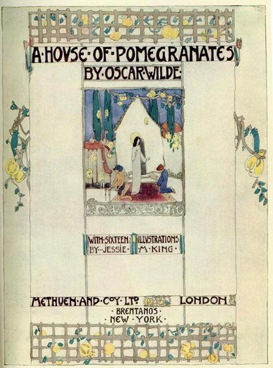 title page ~ a house of pomegranates ~ oscar wilde ~ jessie m king