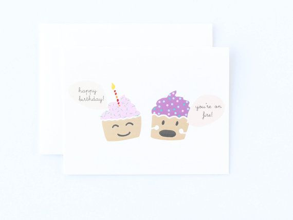 Funny Birthday Cupcake Card Happy Birthday Card by PaulaAndWaffle – Cupcake Birthday Cards