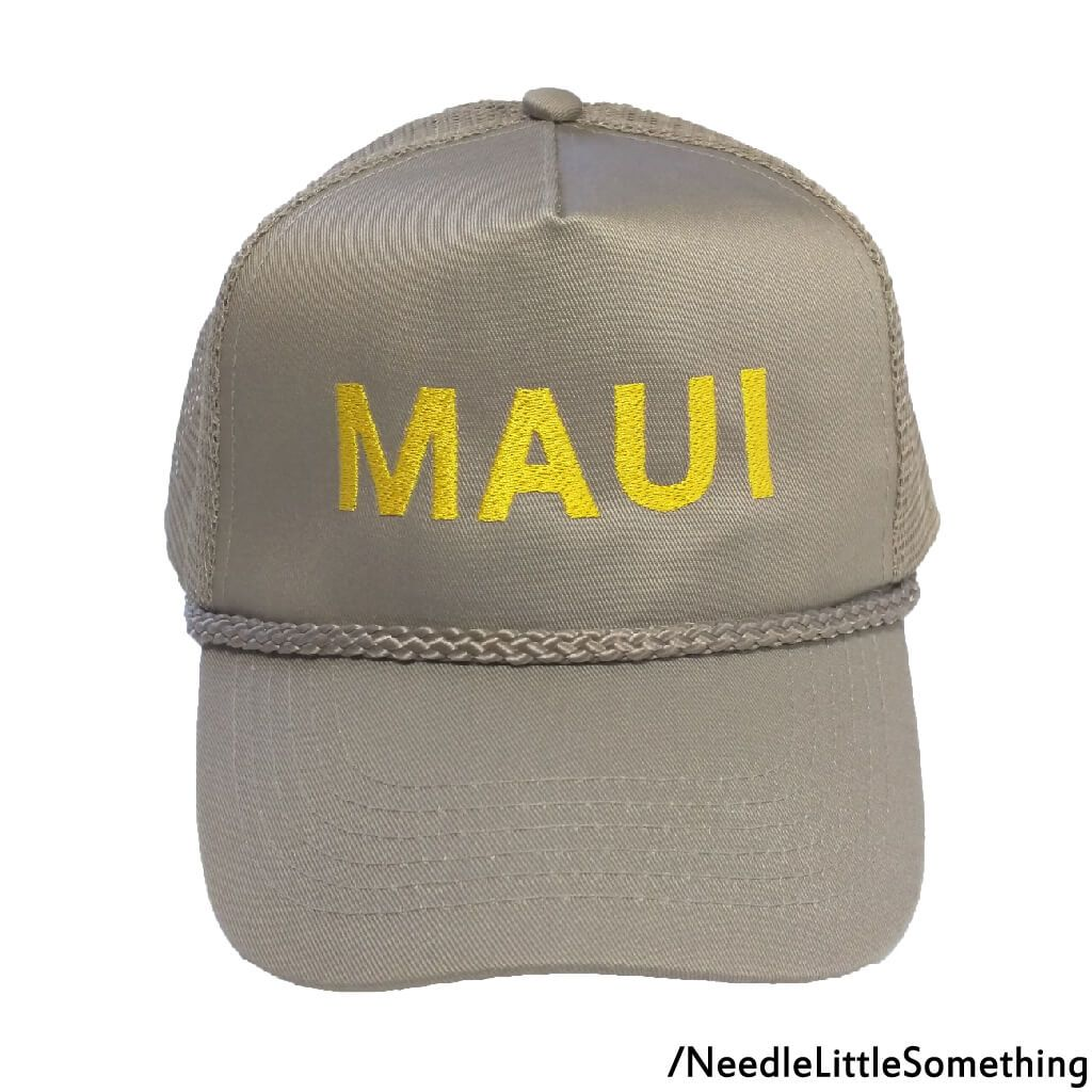 ea8985c3 MAUI Embroidered Khaki Mesh-back High Quality Hat/Cap | Embroidered ...