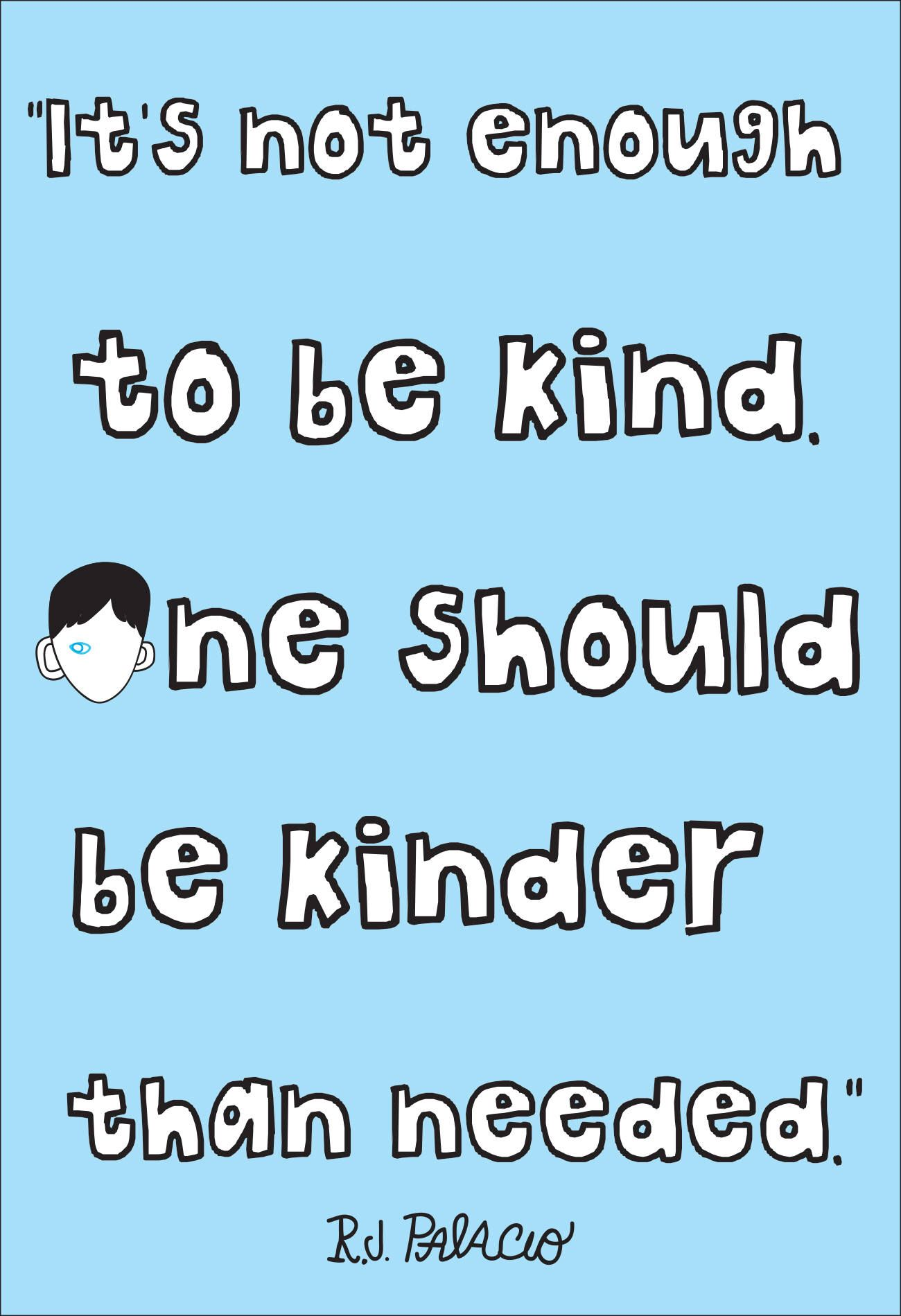 It's Not Enough Wonder quote classroom poster choose kind