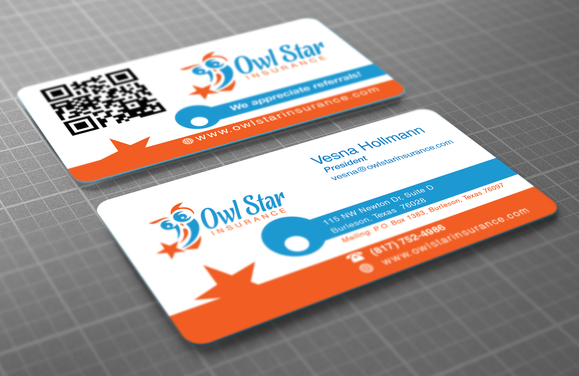 I had the pleasure of designing the logo, website, and these cute business cards for this new insurance agency - http://www.owlstarinsurance.com