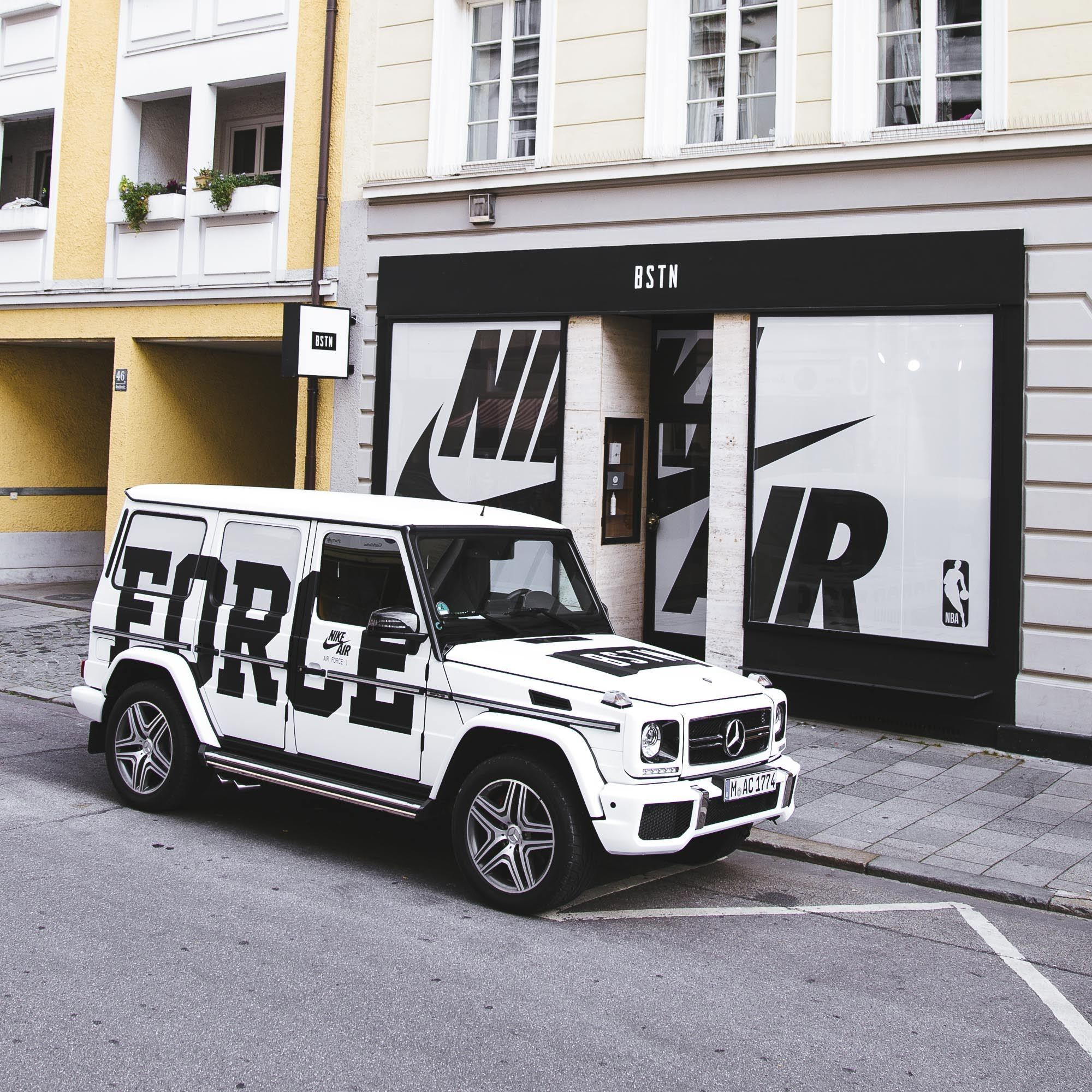 super popular d1b01 6c4cb BSTN Customized A Mercedes G63 AMG For The Launch Of The New Nike NBA  Uniforms And Air Force 1s
