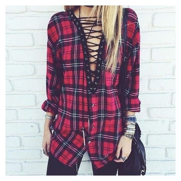 Lace Up Vintage Flannel Shirt Liked On Polyvore Featuring