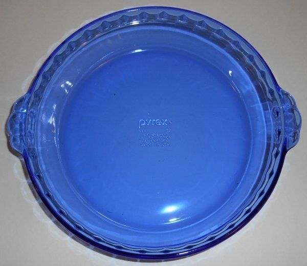 PYREX Cobalt Blue 9.5\  Glass Pie Plate 229 37 With Grip Handles Corning & PYREX Cobalt Blue 9.5\