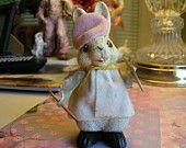 Vintage Papier Mache Artist Bunny Beret Palette Brush Smock Easter Decoration
