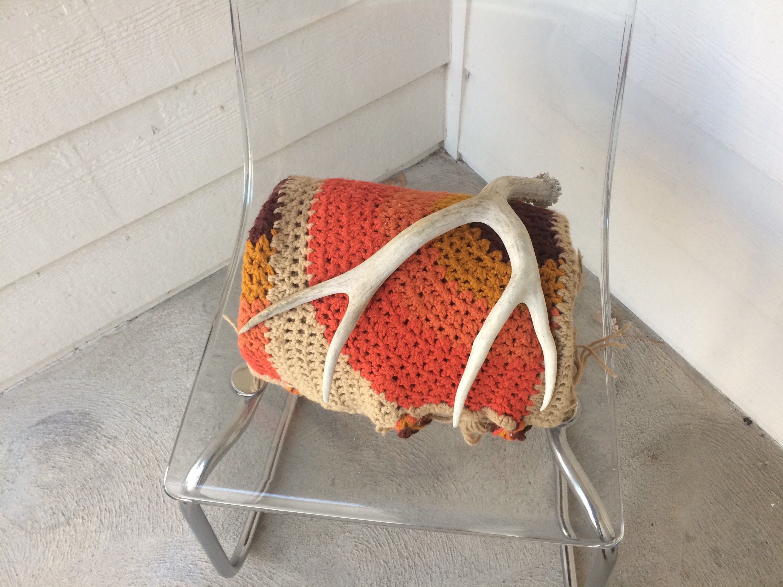 Vintage Bohemian Knit Throw Blanket Boho Throw Orange Throw Blanket Boho Decor Tan Rust Orange Red Brown Vintage Textile Pillows Vintage Throws Knitted Throws