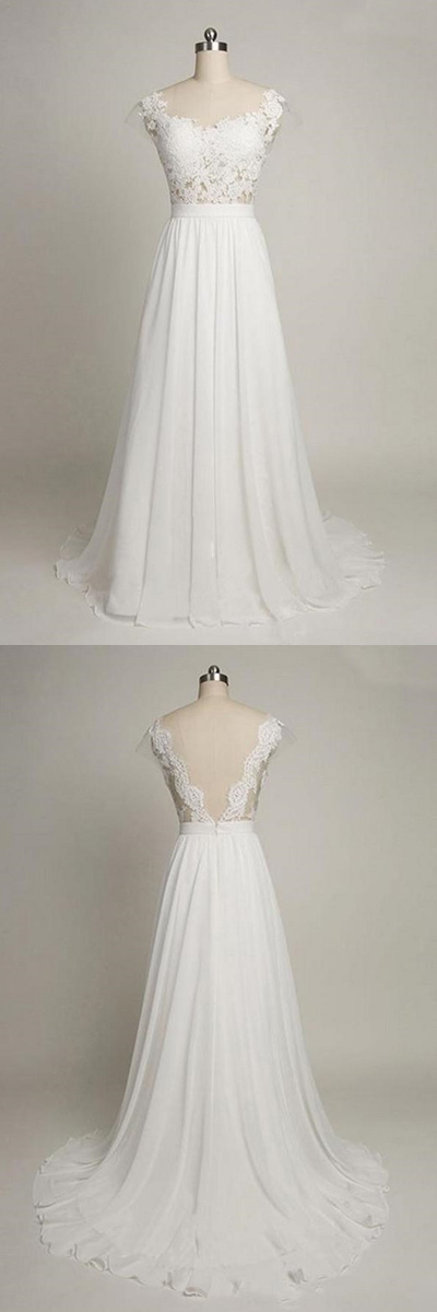 Cap Sleeves Sweetheart Long Chiffon Wedding Dress With Lace