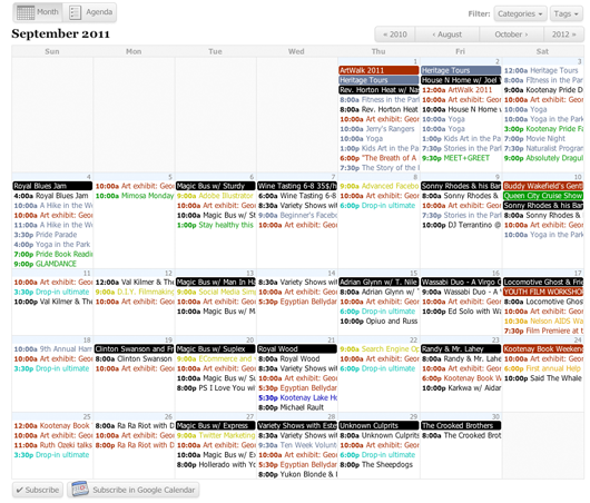 All In One Event Calendar  Cool Graphically Pleasing Easy To