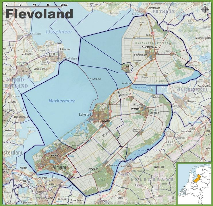 Map of Flevoland with cities and towns | Maps | Pinterest | City