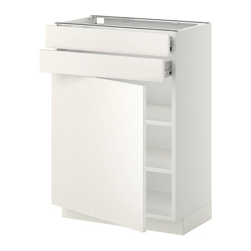 METOD/FÖRVARA Base cabinet w door/2 drawers - white, Veddinge white ...