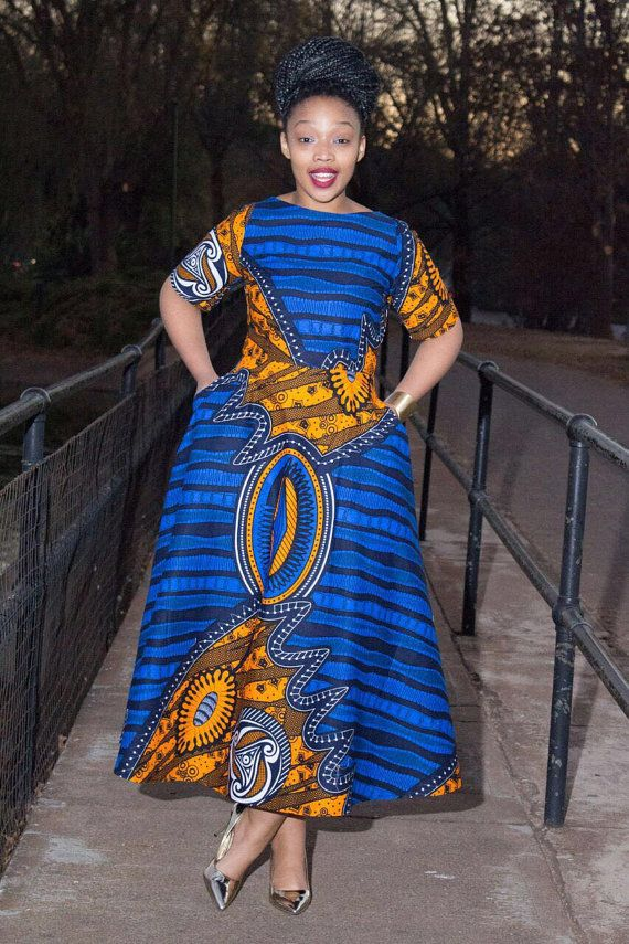 b297d9cae4b64 Blue African print dress by EssieAfricanPrint on Etsy ~ African fashion